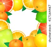 frame of fresh citrus. natural... | Shutterstock .eps vector #417164467