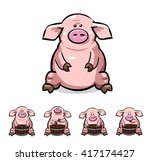 cute cartoon pigs set. vector... | Shutterstock .eps vector #417174427