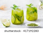 Matcha Iced Green Tea With Lim...