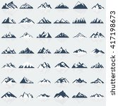 Big Mountain Icons Set. Vector...