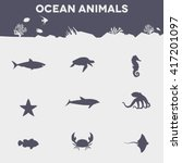 nine different ocean animals... | Shutterstock .eps vector #417201097