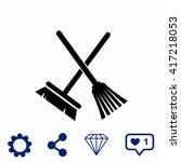 broom and mop icon.   Shutterstock .eps vector #417218053