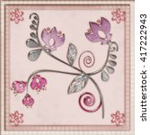 Floral Tile Background With...