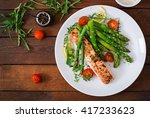 baked salmon garnished with... | Shutterstock . vector #417233623