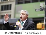 Small photo of NEW YORK CITY - MAY 5 2016: Striking Verizon workers gathered with members of other unions & labor leaders in front of Verizon's Wall St headquarters. Mario Cilento, president NY AFL-CIO