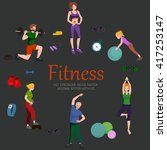 healthy people workout in gym... | Shutterstock .eps vector #417253147