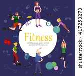 healthy people workout in gym... | Shutterstock .eps vector #417253273