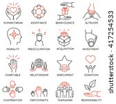 vector set of 16 thin icons... | Shutterstock .eps vector #417254533