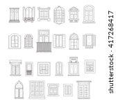 set of cute hand drawn windows... | Shutterstock .eps vector #417268417
