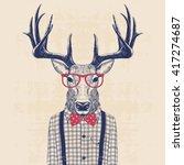 illustration of deer dressed up ... | Shutterstock .eps vector #417274687