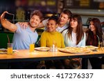 cheerful multiracial friends... | Shutterstock . vector #417276337