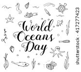 world ocean day lettering and... | Shutterstock .eps vector #417277423