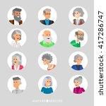 cute cartoon seniors avatars... | Shutterstock .eps vector #417286747