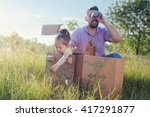 father and toddler girl playing ... | Shutterstock . vector #417291877