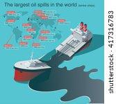 wrecked oil tanker ship. oil... | Shutterstock .eps vector #417316783