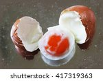 boiled egg and shell with... | Shutterstock . vector #417319363