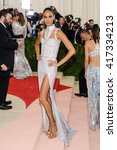 Small photo of May 2, 2016 - New York, New York - Joan Smalls attends the Metropolitan Museum of Art Costume Institute Gala, Manus x Machina: Fashion in an Age of Technology