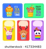 colorful sticker and label with ... | Shutterstock .eps vector #417334483