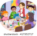 stickman illustration of kids... | Shutterstock .eps vector #417352717