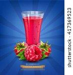 vector glass of juice with... | Shutterstock .eps vector #417369523