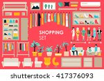 shopping big collection in flat ... | Shutterstock .eps vector #417376093