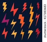 set of doodle simple lightning... | Shutterstock .eps vector #417383683