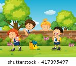 students in uniform skipping... | Shutterstock .eps vector #417395497
