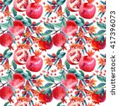watercolor pomegranate bloom... | Shutterstock . vector #417396073
