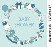 Baby Boy Shower Card. Colorful...