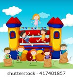 children playing at the... | Shutterstock .eps vector #417401857