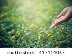hand nurturing and watering... | Shutterstock . vector #417414067