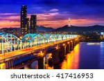 view of downtown cityscape at... | Shutterstock . vector #417416953