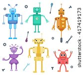 set of colorful retro robots by ... | Shutterstock .eps vector #417419173