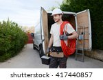 handsome young construction... | Shutterstock . vector #417440857