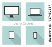set of computer monitors ... | Shutterstock .eps vector #417452857
