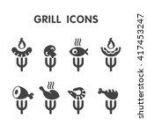 set grill bar labels  logos.... | Shutterstock .eps vector #417453247