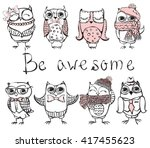 set of cute hipster owls | Shutterstock .eps vector #417455623