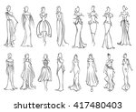 fashion models sketched...   Shutterstock .eps vector #417480403
