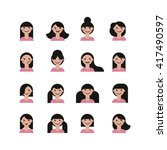 set of cute girls | Shutterstock .eps vector #417490597