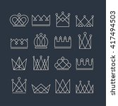 set of silver crown icons....