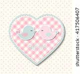 pink heart with canvas texture... | Shutterstock .eps vector #417506407