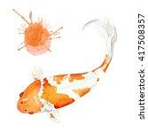 watercolor japanese fish carp... | Shutterstock . vector #417508357