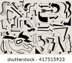 big set of black arrows in... | Shutterstock .eps vector #417515923