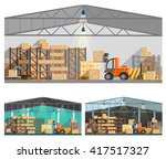 warehouse and storage... | Shutterstock .eps vector #417517327