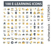 learning icons  | Shutterstock .eps vector #417519043