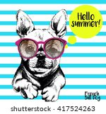 Stock vector vector close up portrait of french bulldog wearing the sunglasses bright hello summer french 417524263