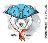 portrait of panda in pirate hat.... | Shutterstock .eps vector #417543883
