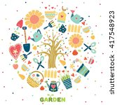 round card with gardening... | Shutterstock .eps vector #417548923