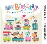 Birthday Card With Cute Animal...