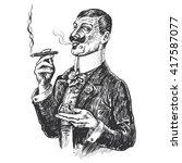 elegant gentleman holding glass ... | Shutterstock . vector #417587077
